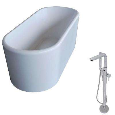 Century 5.6 ft. Acrylic Classic Freestanding Flatbottom Non-Whirlpool Bathtub in White and Sens Faucet in Chrome