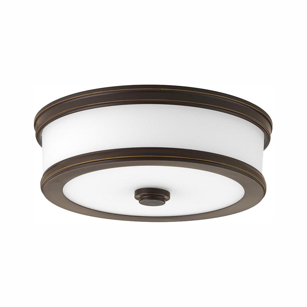 Progress Lighting Bezel LED Collection 17-Watt Antique Bronze Integrated LED Flush Mount