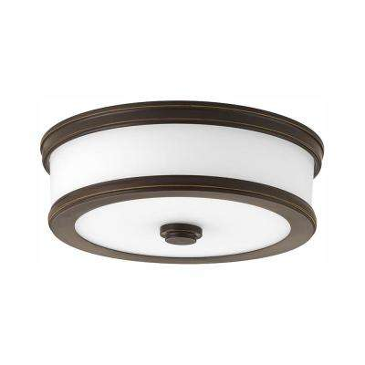 Bezel LED Collection 17-Watt Antique Bronze Integrated LED Flush Mount