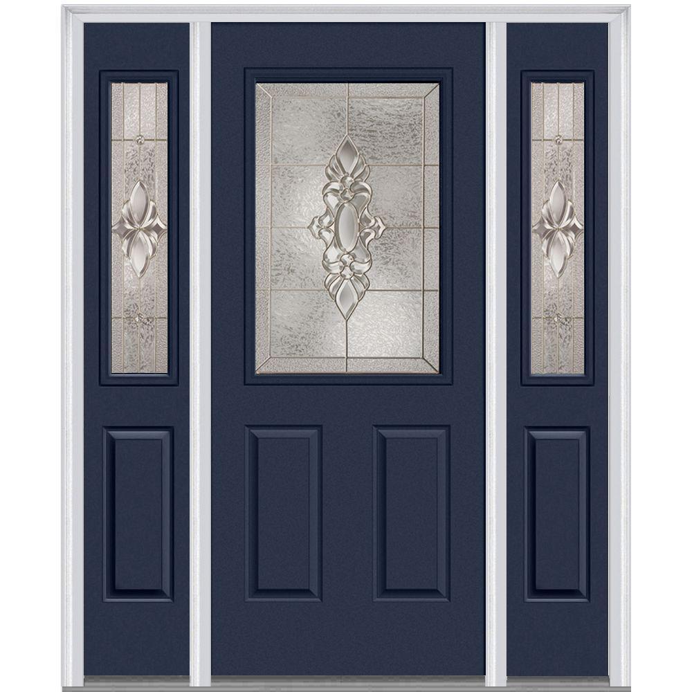 68.5 in. x 81.75 in. Heirlooms Left-Hand 1/2-Lite Decorative Painted Fiberglass Smooth Prehung Front Door with Sidelites