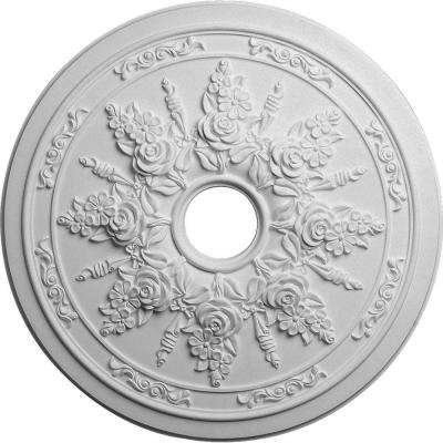 23-5/8 in. x 4 in. ID x 1-1/2 in. Rose and Ribbon Urethane Ceiling Medallion (Fits Canopies upto 4 in.)