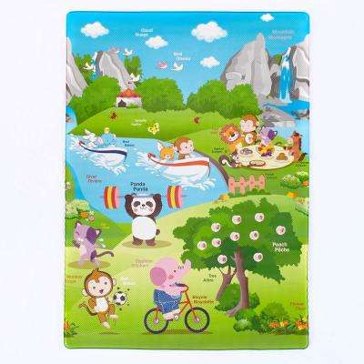 Reversible Animals Day in the Park 3 ft. x 5 ft. Kids Playmat Area Rug