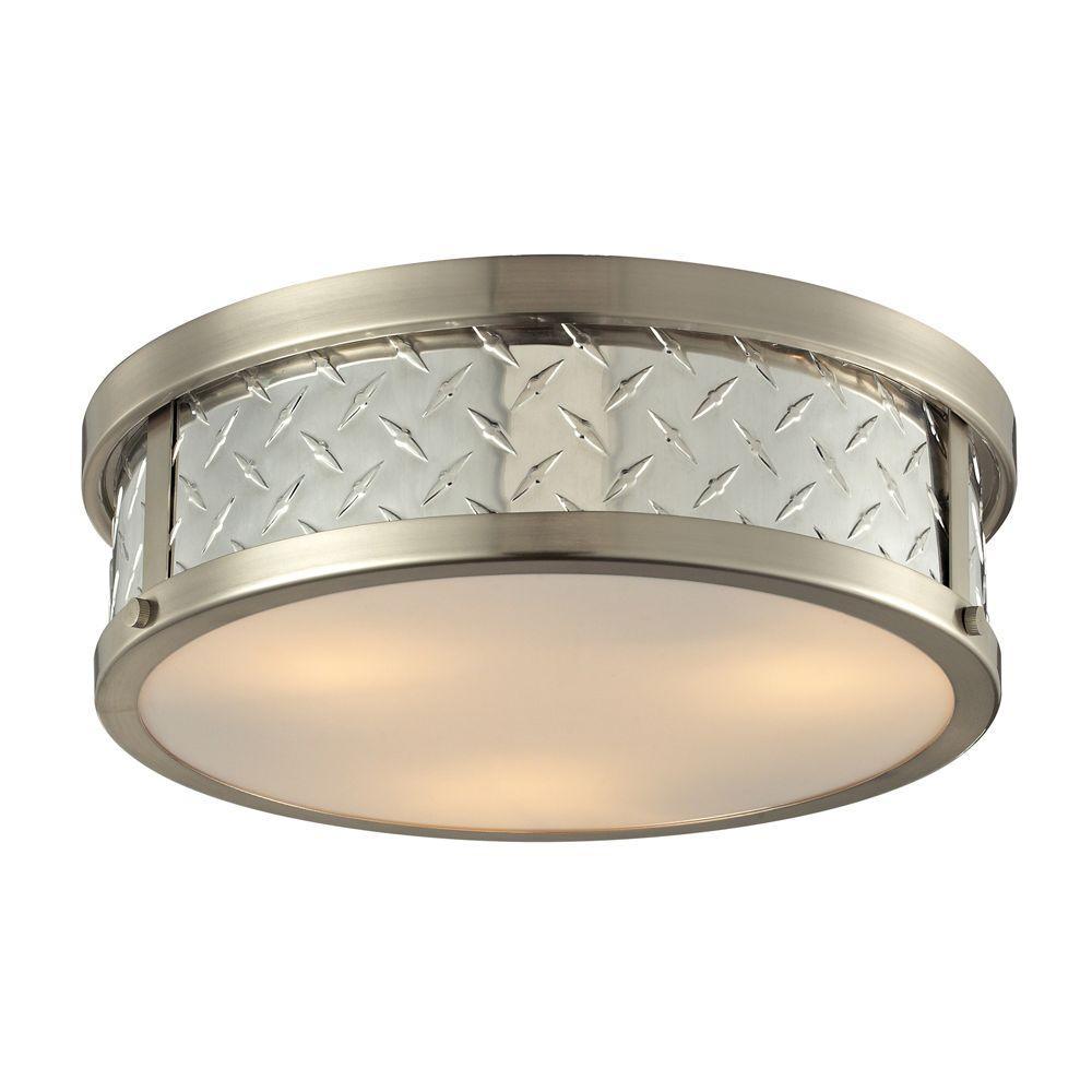 Trajan Collection 3-Light Brushed Nickel Flushmount