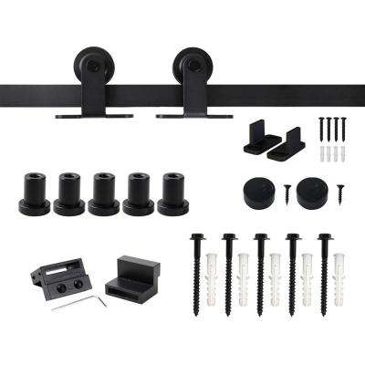 6.6 ft./79 in. Top Mount Sliding Barn Door Hardware Track Kit for Single Door with Non-Routed Floor Guide Frosted Black