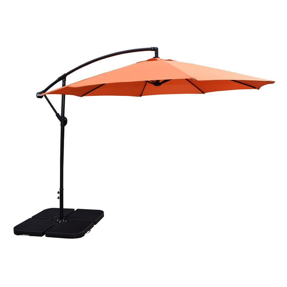 10 ft. Cantilever Patio Umbrella in Burnt Orange and 4-Piece Polyresin Patio Umbrella Base