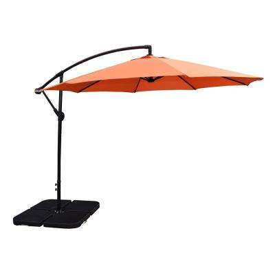10 ft. Cantilever Patio Umbrella in Burnt Orange and 4-Piece Polyresin Patio Umbrella Base