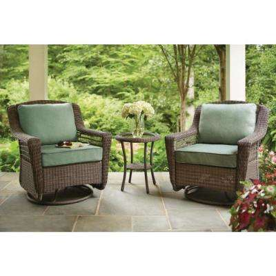 Spring Haven Grey Wicker Patio Dining Chairs with Cushions Included, Choose Your Own Color (2-Pack)