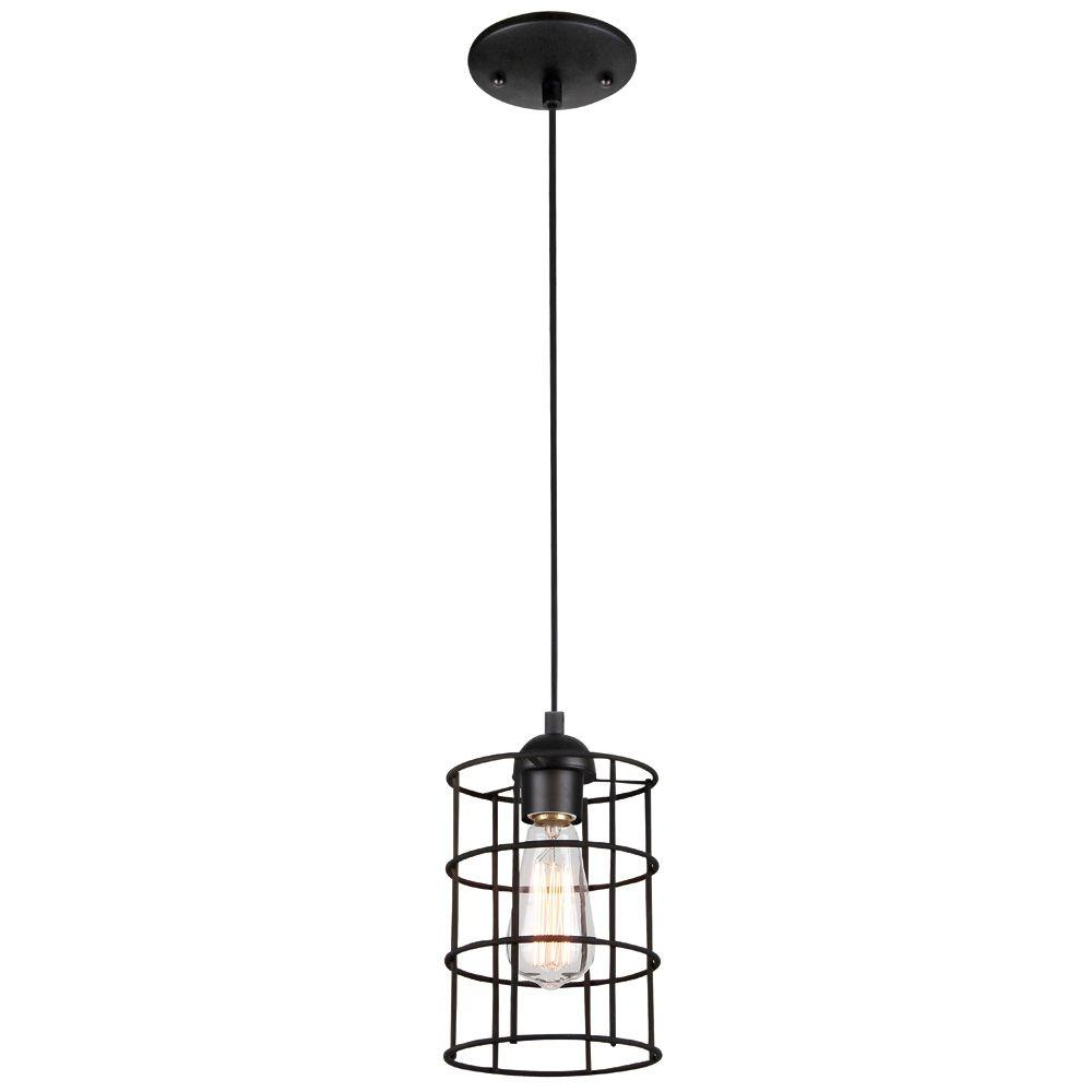 Westinghouse 1-Light Oil Rubbed Bronze Adjustable Mini Pendant with Metal Cage Shade