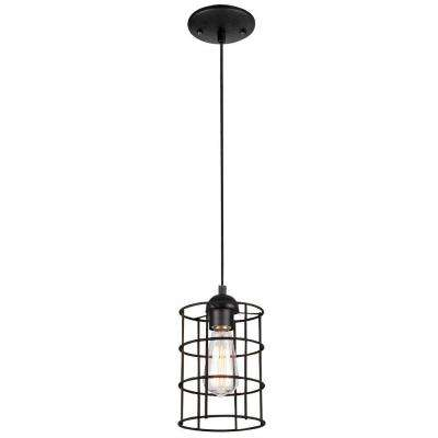 1-Light Oil Rubbed Bronze Adjustable Mini Pendant with Metal Cage Shade