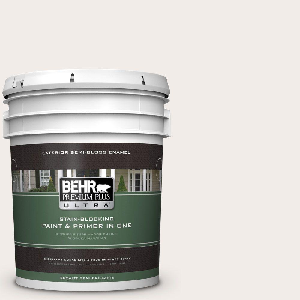 BEHR Premium Plus Ultra 5-gal. #RD-W10 New House White Semi-Gloss Enamel Exterior Paint