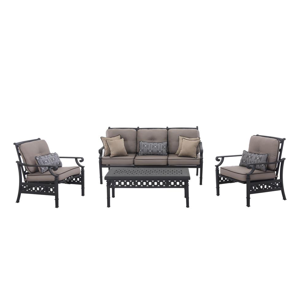 Sunjoy Catelynn 4 Piece Patio Conversation Set With Beige Cushions