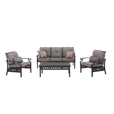 Catelynn 4-Piece Patio Conversation Set with Beige Cushions