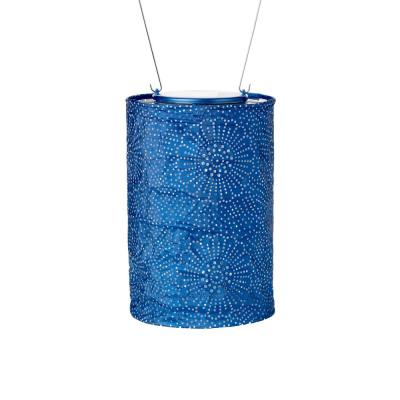 Soji Stella Cylinder 7.5 in. x 5 in. Blue Integrated LED Hanging Outdoor Tyvek UV Solar Lantern