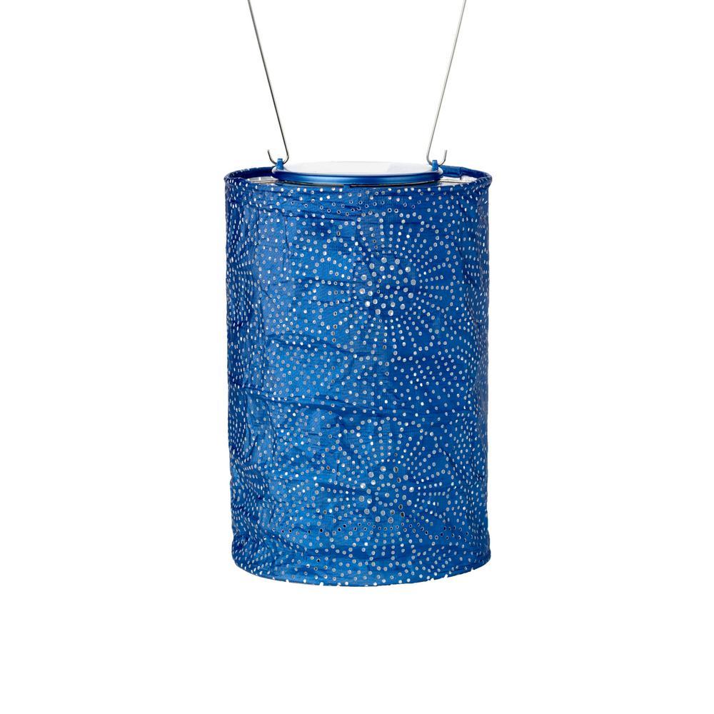 Soji Stella Cylinder 7 5 In X Blue Integrated Led Hanging Outdoor Tyvek