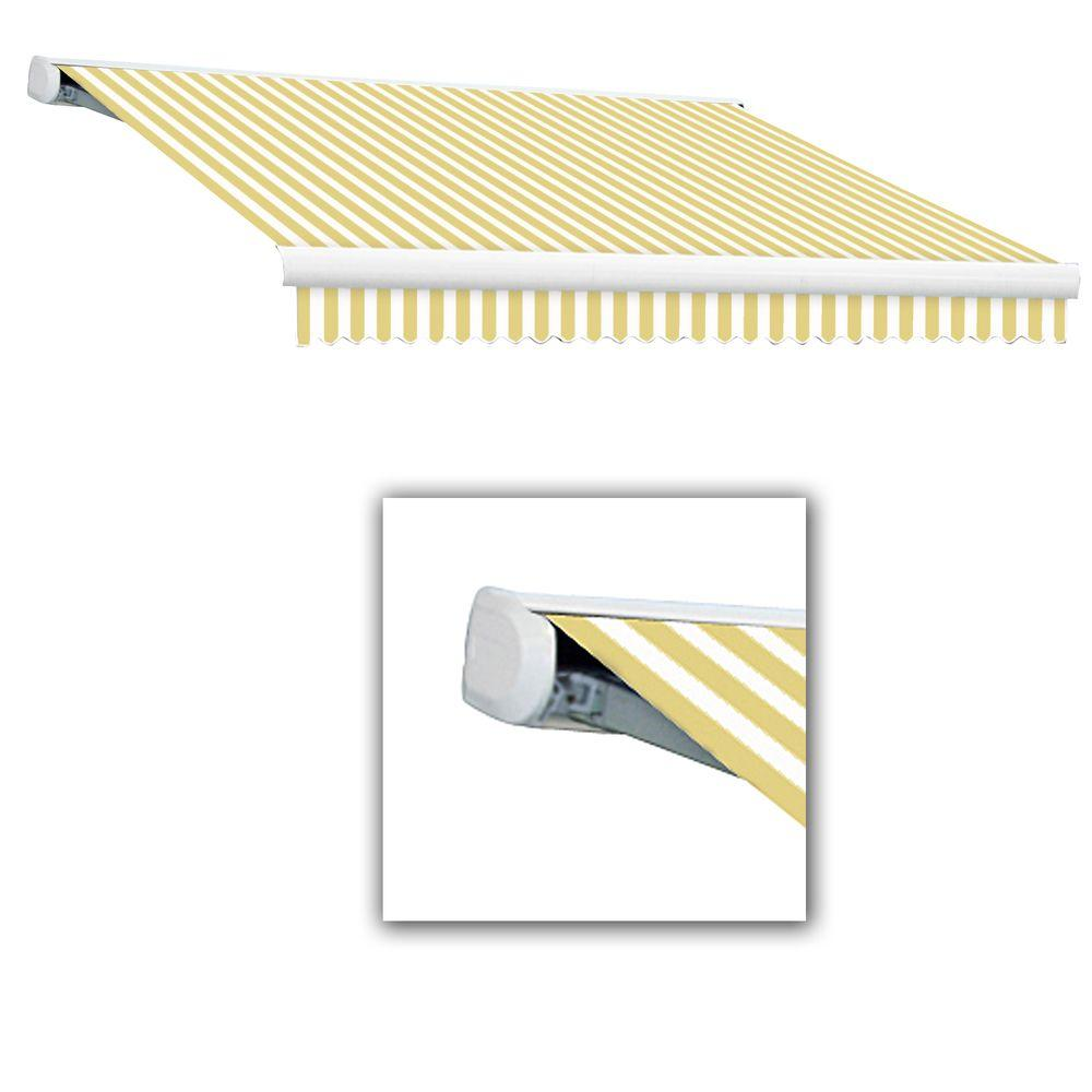 AWNTECH 24 ft. Key West Full-Cassette Right Motor Retractable Awning with Remote (120 in. Projection) in Yellow/White
