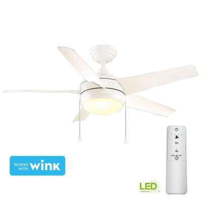 Windward 44 in. LED Matte White Smart Ceiling Fan with Light Kit and WINK Remote Control