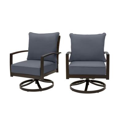 Whitfield Dark Brown Wicker Outdoor Patio Motion Conversation Chair with CushionGuard Sky Blue Cushions (2-Pack)