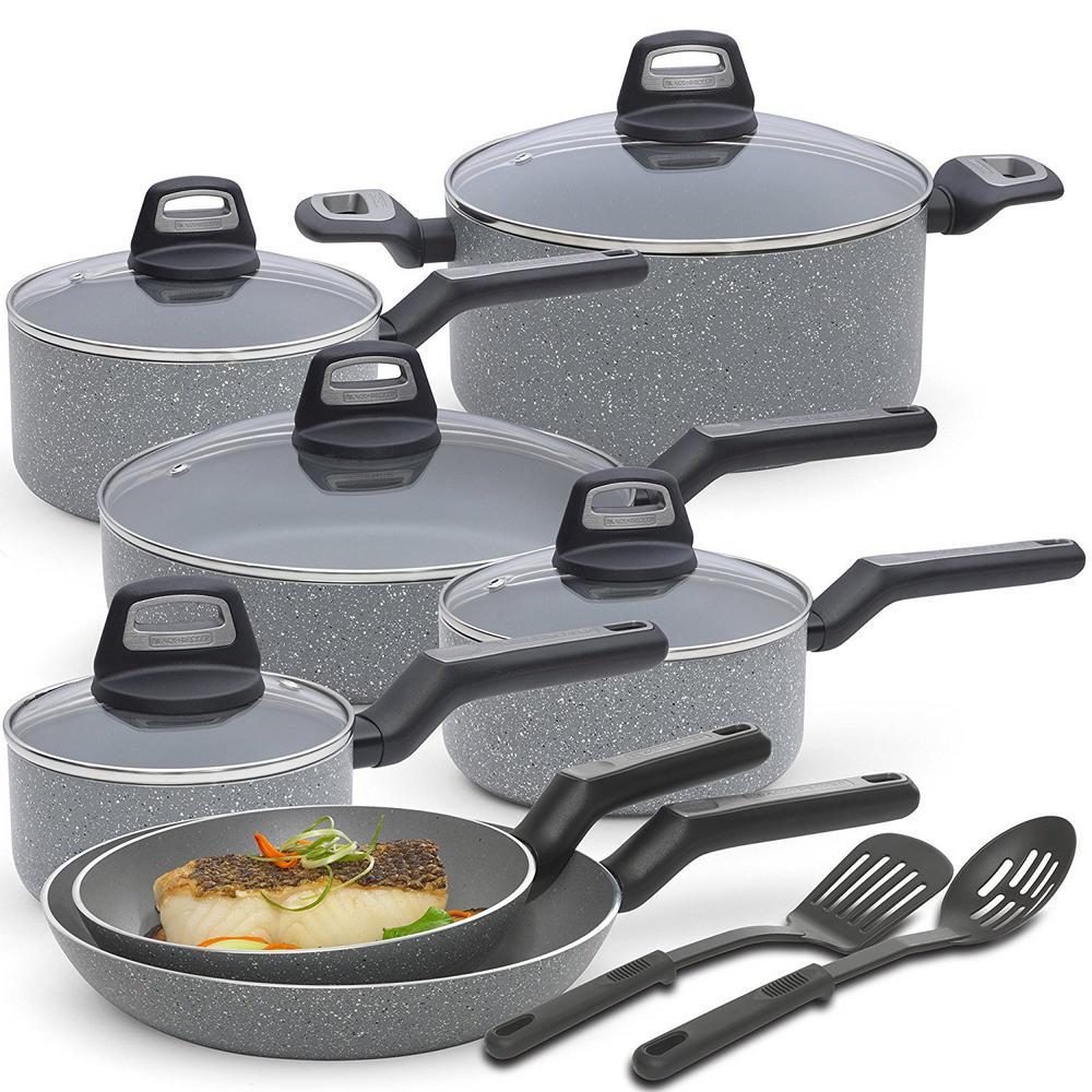 14-Piece Multi-Size Granite Durable Titanium Nonstick Interior Cookware Set