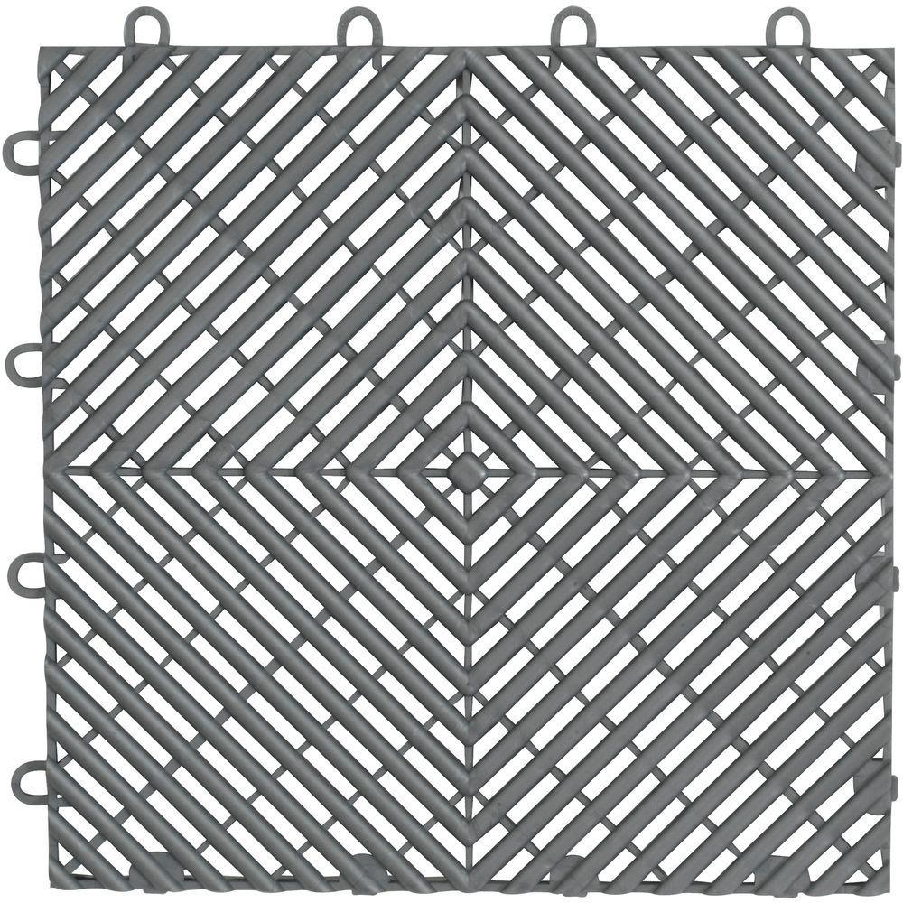 Gladiator 1 ft. x 1 ft. Silver Polypropylene Garage Flooring Drain Tile (4-Pack)
