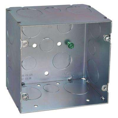 2-Gang 5 in. New Work Metal Square Electrical Box with 67 cu. in. Capacity (20 per Case)
