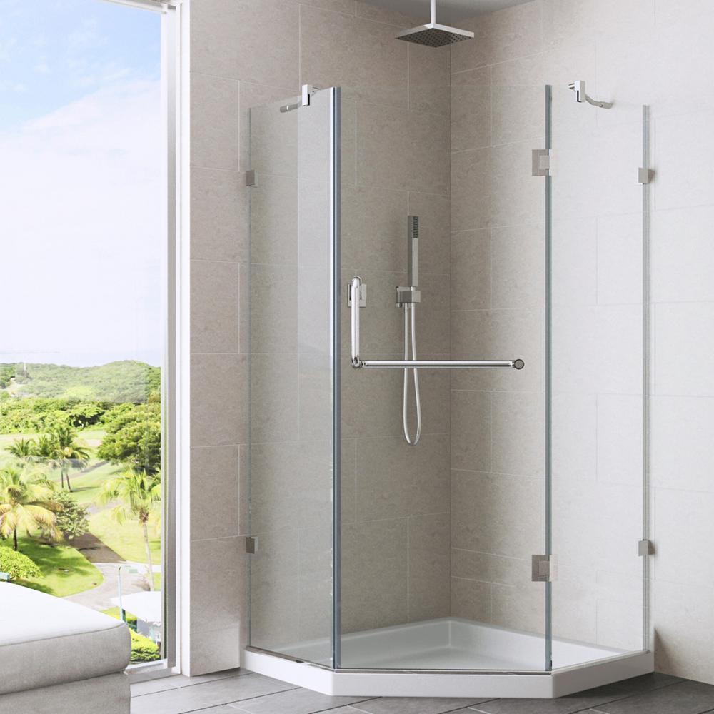 VIGO Piedmont 36.125 in. x 76.75 in. Frameless Neo-Angle Shower ...