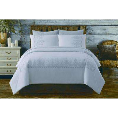 Chambray Cotton White Full/Queen Comforter Set