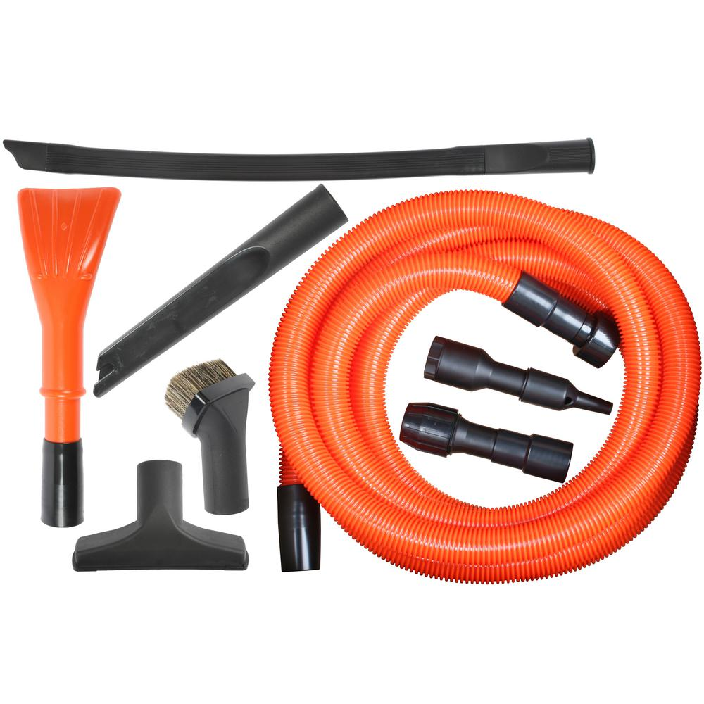 Cen-Tec Deluxe Garage Attachment Kit for Wet Dry Vacuums The Deluxe Garage Attachment Kit for wet dry vacuums includes a variety of all-purpose tools for use in a garage or shop with your wet dry shop vac. The 20 ft. hose is equipped with a 2.5 in. adapter to fit into standard wet dry vacuums, while the in use end will work with any 1.25 in. attachments. The long flexible crevice tool will clean behind shelves or vacuum the spider webs out of the top corner of the garage. The attachment set and micro tool are the perfect tools to vacuum out the car.