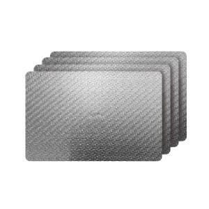Cambria Silver Metallic Faux Leather Rectangular Placemats (Set of 4)