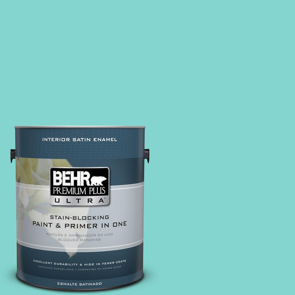 BEHR Premium Plus Ultra Home Decorators Collection 1-gal. #HDC-MD-09 Island Oasis Satin Enamel Interior Paint