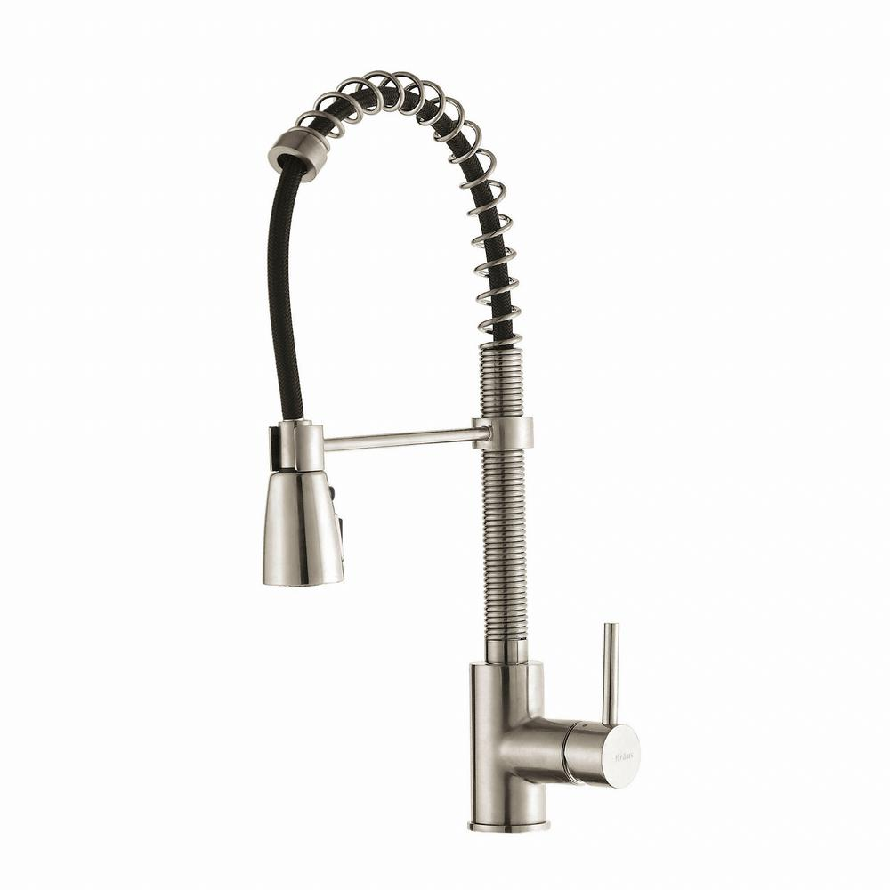 KRAUS Commercial-Style Single-Handle Pull-Down Kitchen Faucet with ...