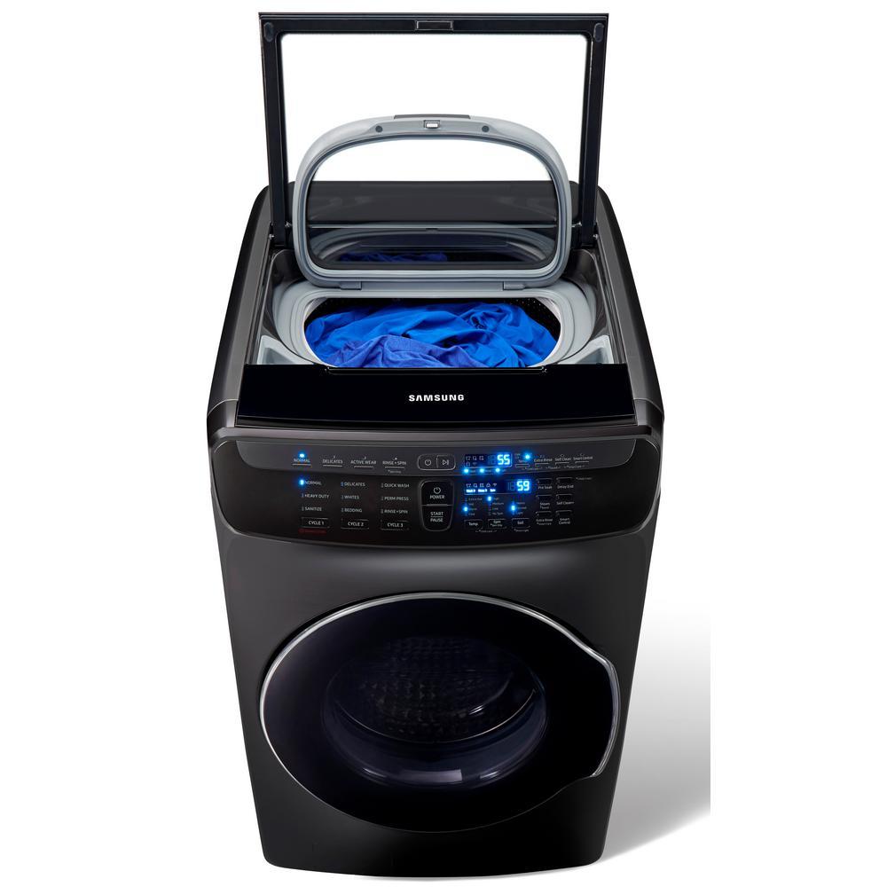 5.5 Total cu. ft. High-Efficiency FlexWash Washer in Black Stainless Steel
