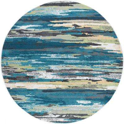 Milan Blue 5 ft. 3 in. x 5 ft. 3 in. Round Area Rug