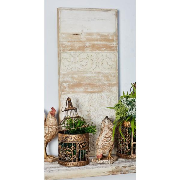 Litton Lane 38 in. x 16 in. Tiles Collage Wooden Wall