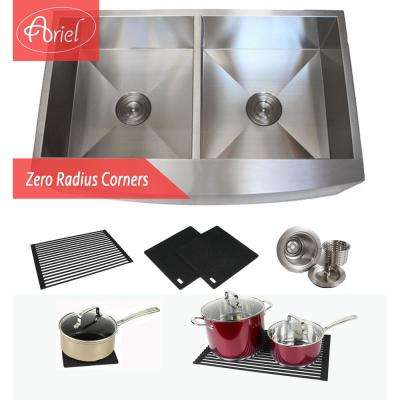 Farmhouse Curve Apron Stainless Steel 36 in. x 21 in. x 10 in. 16-Gauge Double 50/50 Bowl Zero Radius Kitchen Sink Combo