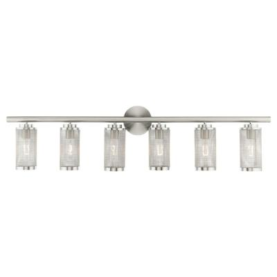 Industro 5.125 in. 6-Light Brushed Nickel Vanity Light with Stainless Steel Mesh Shades