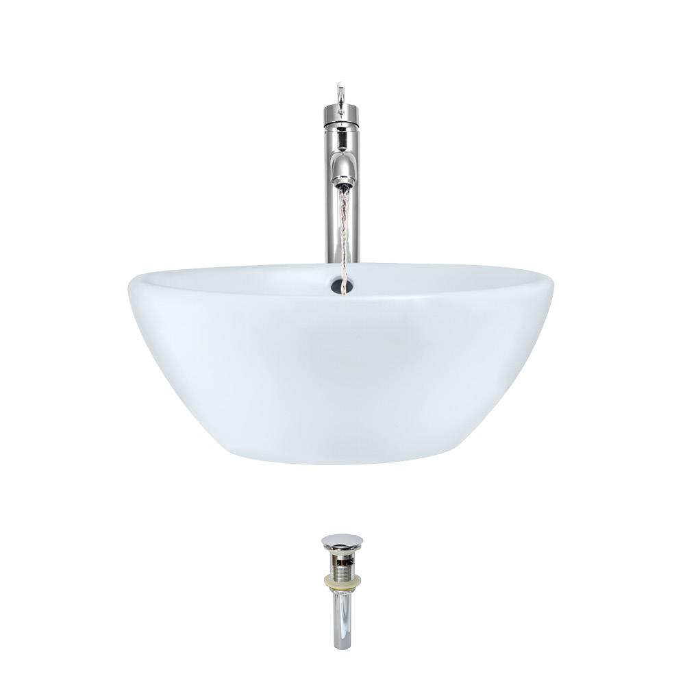 MR Direct Porcelain Vessel Sink in White with 718 Faucet and Pop-Up Drain in Chrome
