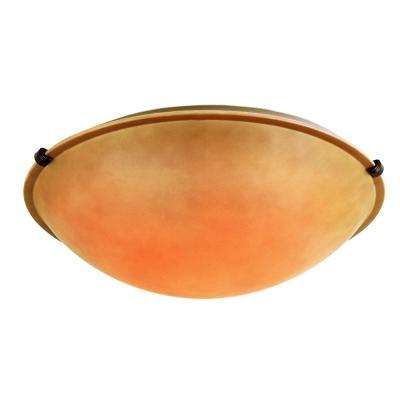 2-Light Rubbed Oil Bronze Flushmount with Tea Stained Shade