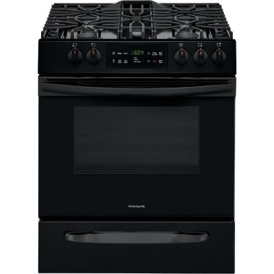 30 in. 5.0 cu. ft. Single Oven Gas Range with Self-Cleaning Oven in Black