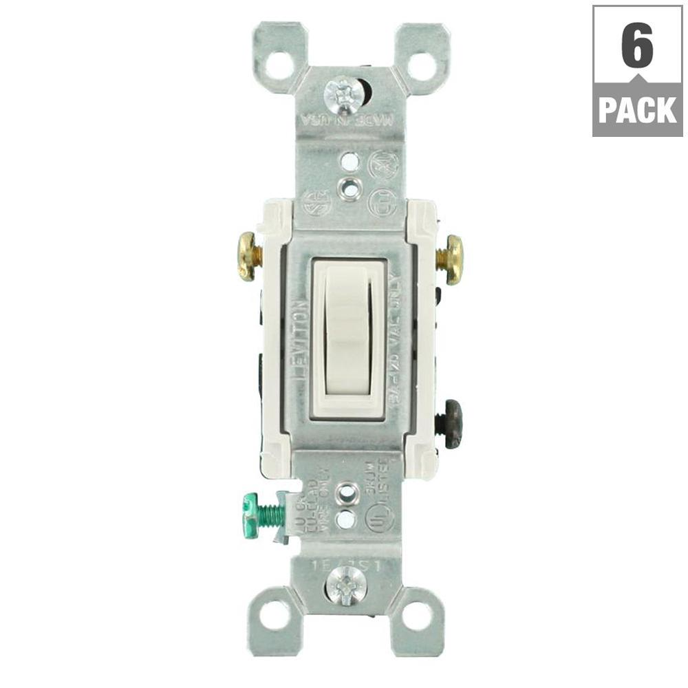 Leviton 15 Amp 3 Way Toggle Switch White 6 Pack M22 01453 2wm The Home Depot