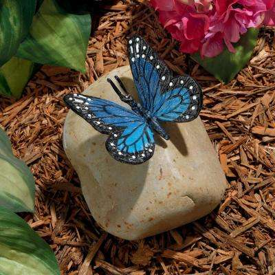 5 in. H Papilio Ulysses Butterfly on Rock Statue