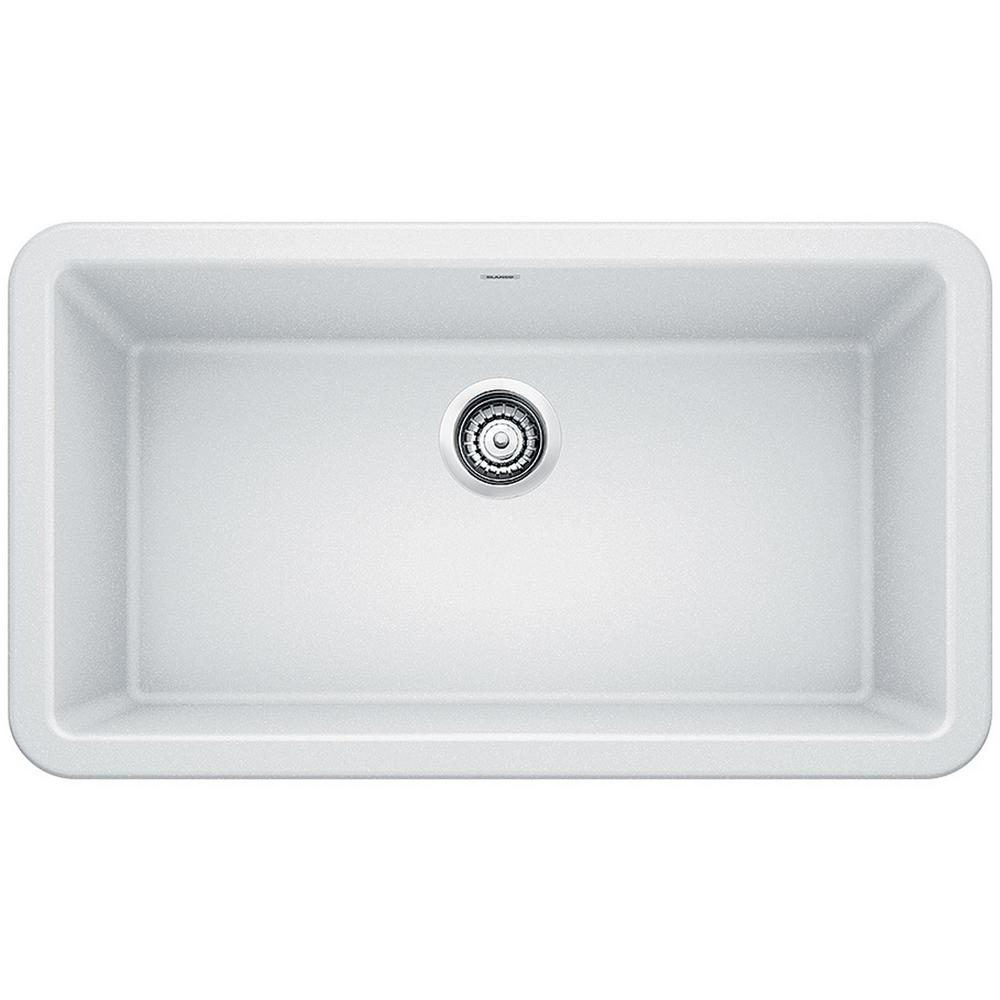 Shop IKON Farmhouse Apron-Front Granite Composite 33 in. Single Bowl Kitchen Sink in White from Home Depot on Openhaus