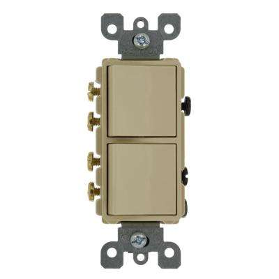 20 Amp Decora Commercial Grade Combination Two 3-Way Rocker Switches, Ivory