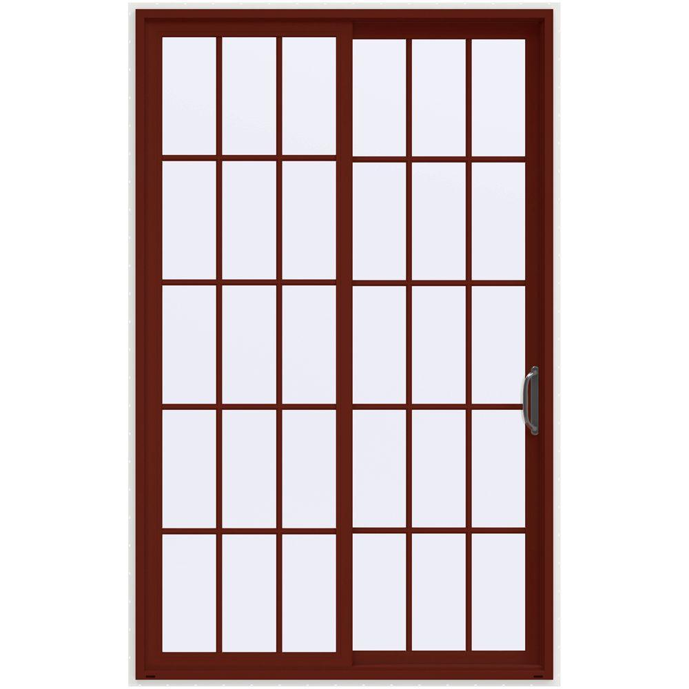 JELD WEN 60 In. X 96 In. V 4500 Mesa Red Prehung Right Hand Sliding 15 Lite Vinyl  Patio Door With White Interior THDJW155900455   The Home Depot