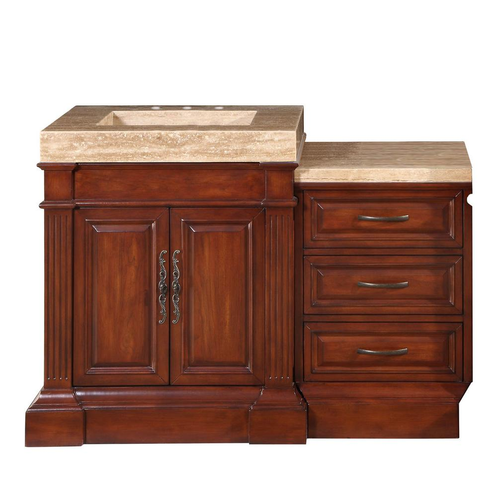 Silkroad Exclusive 51 in. W x 24 in. D Vanity in Cherry with Stone Vanity Top in Travertine with Stone Ramp Basin