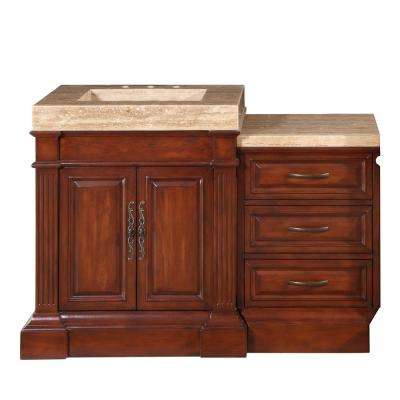 51 in. W x 24 in. D Vanity in Cherry with Stone Vanity Top in Travertine with Stone Ramp Basin