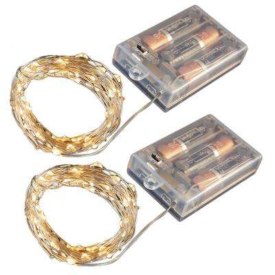 Battery Operated LED Waterproof Mini String Lights with Timer (50ct) Amber (Set of 2)
