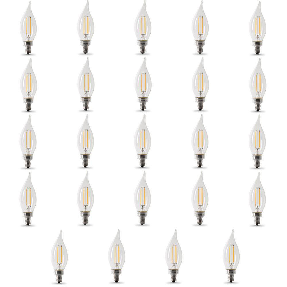 40-Watt Equivalent CA10 Candelabra Dimmable Filament CEC LED Clear Glass Light