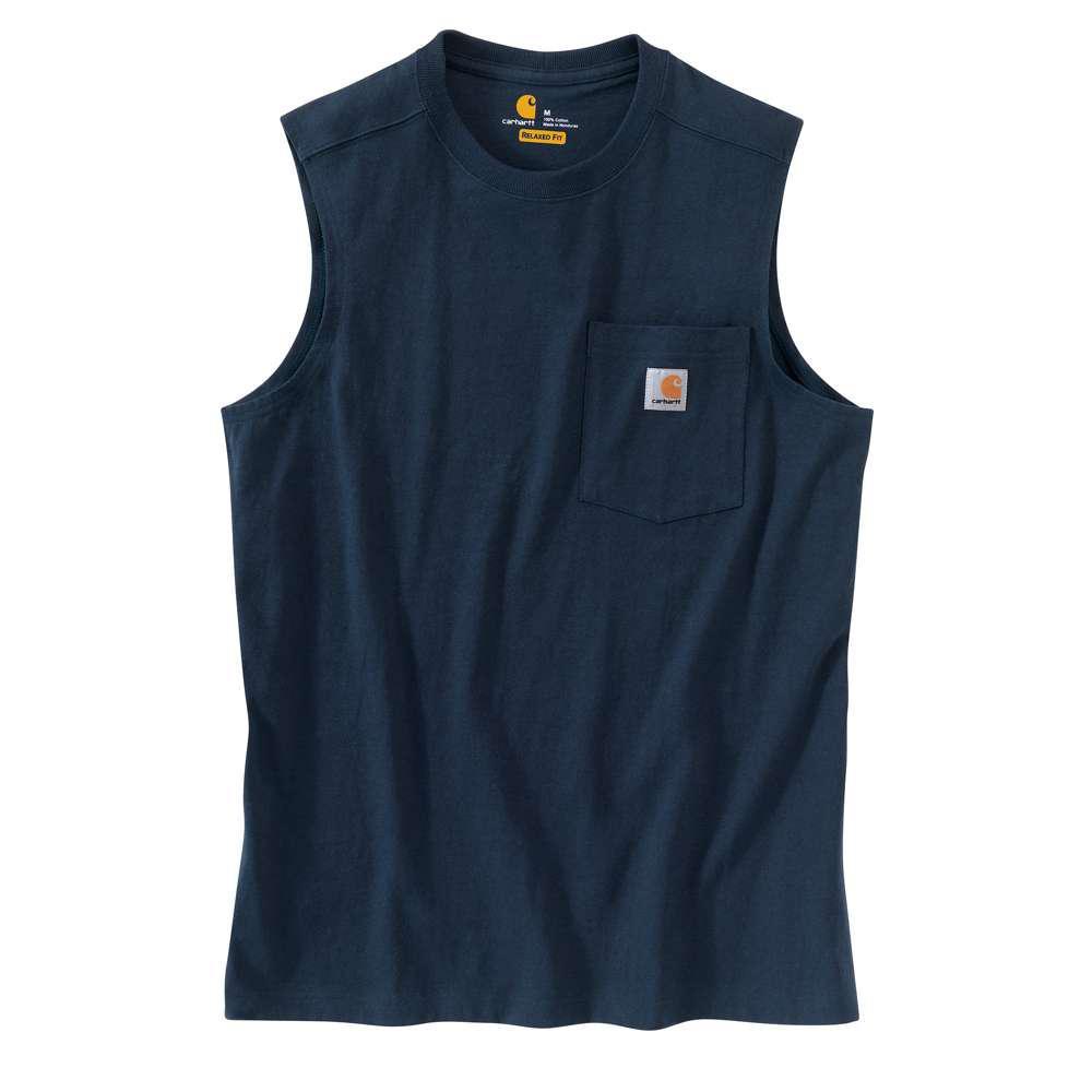 eaa8dc5c97503 Carhartt Men s Regular XXXX Large Navy Cotton Sleeveless T-Shirt ...