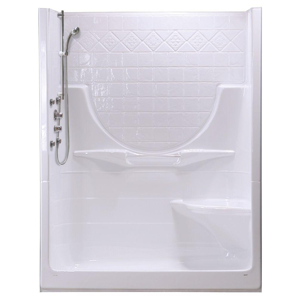 MAAX Montego II 33-1/4 in. x 59-1/4 in. x 74-1/2 in. Shower Stall with Right Seat in White