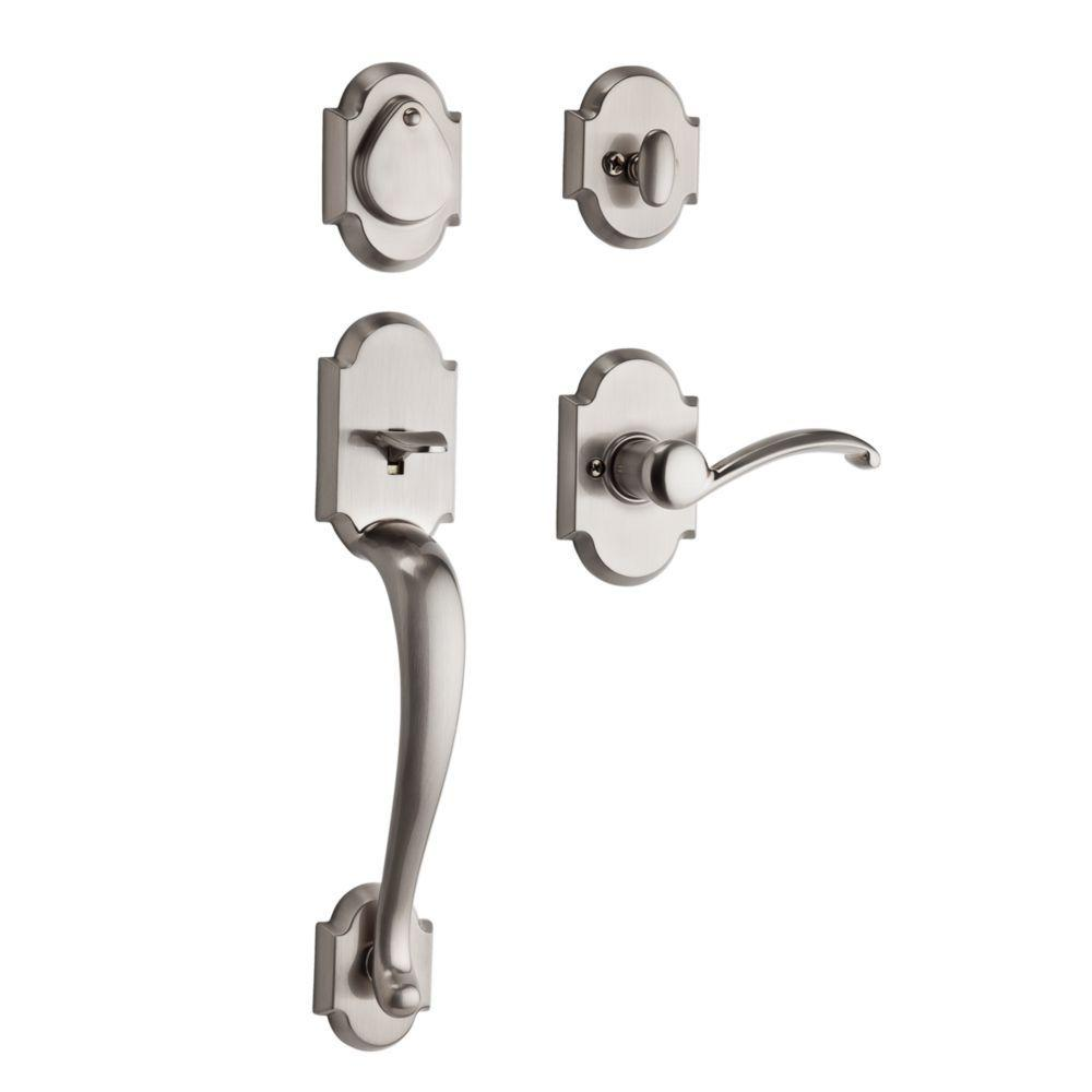 Kwikset Austin Satin Nickel Single Cylinder Door Handleset With Lever Featuring Smartkey Security